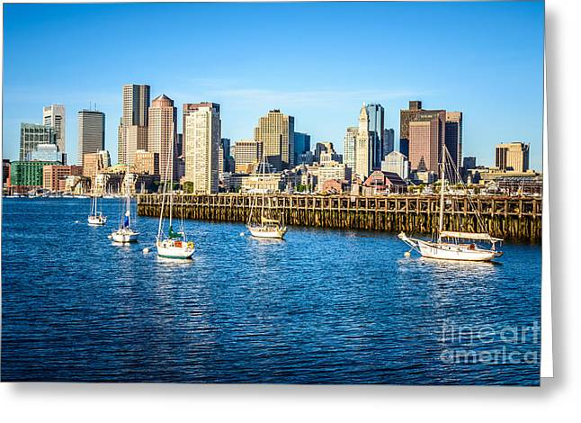 Boston Skyline Picture Of Boston Harbor Greeting Card by Paul Velgos