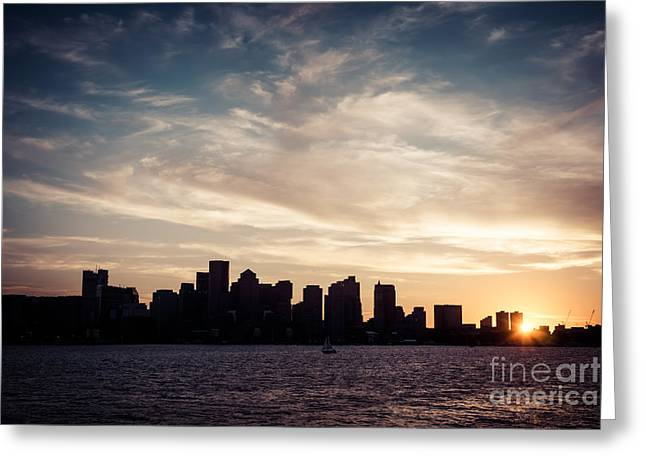 Boston Harbor Greeting Cards - Boston Skyline Picture Vintage Sunset Greeting Card by Paul Velgos