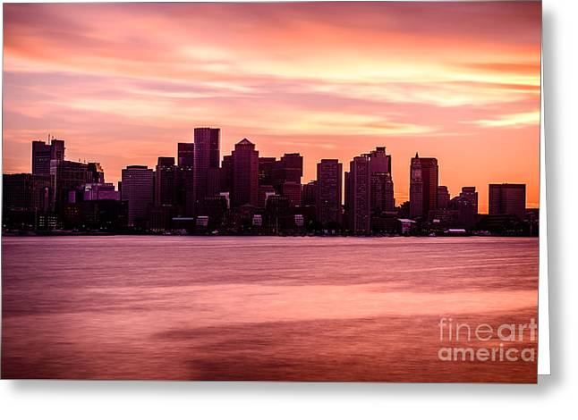 Boston Harbor Greeting Cards - Boston Skyline Picture with Colorful Sunset Greeting Card by Paul Velgos