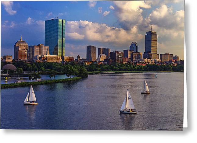 River. Clouds Greeting Cards - Boston Skyline Greeting Card by Rick Berk