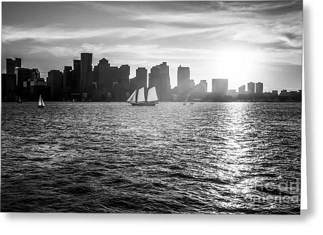 Boston Harbor Greeting Cards - Boston Skyline Sunset Black and White Photo Greeting Card by Paul Velgos