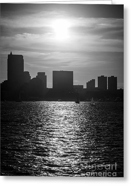 Boston Skyline Sunset Black And White Picture Greeting Card by Paul Velgos