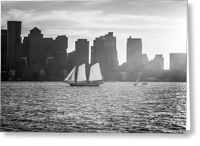 Boston Harbor Greeting Cards - Boston Skyline Sunset Panoramic Black and White Photo Greeting Card by Paul Velgos