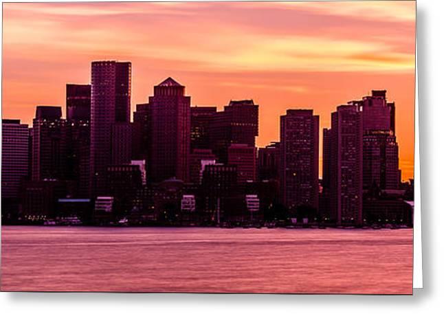 Boston Skyline Sunset Panoramic Photo Greeting Card by Paul Velgos