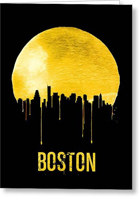 Boston Skyline Yellow Greeting Card by Naxart Studio