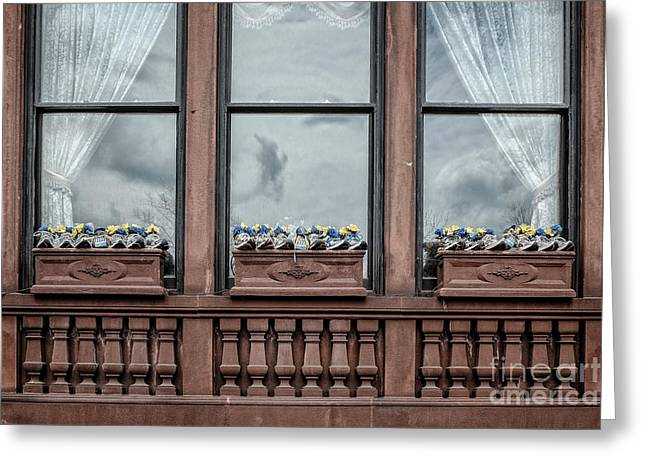 Running Shoe Greeting Cards - Boston Strong Window Boxes Greeting Card by Edward Fielding