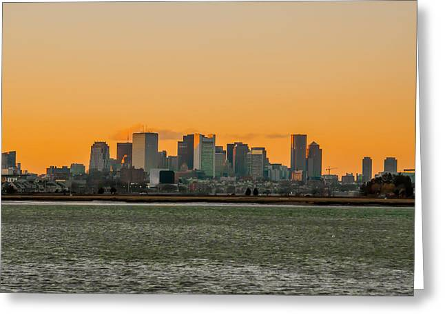 Boston Ma Greeting Cards - Boston Sunset Greeting Card by Brian MacLean