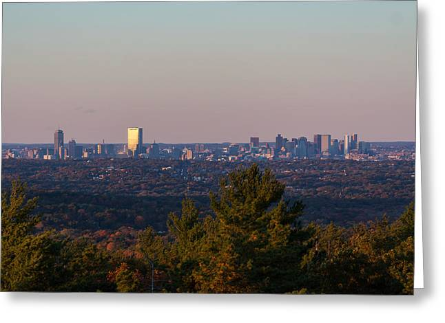 Boston Ma Greeting Cards - Boston Sunset from the Blue Hills Greeting Card by Brian MacLean