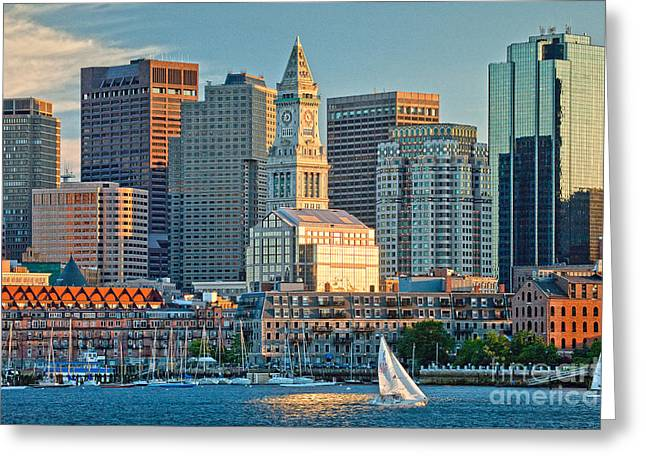 Boston Sunset Sail Greeting Card by Susan Cole Kelly