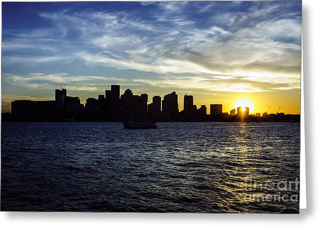 New England Ocean Greeting Cards - Boston Sunset with Boston Skyline Greeting Card by Paul Velgos
