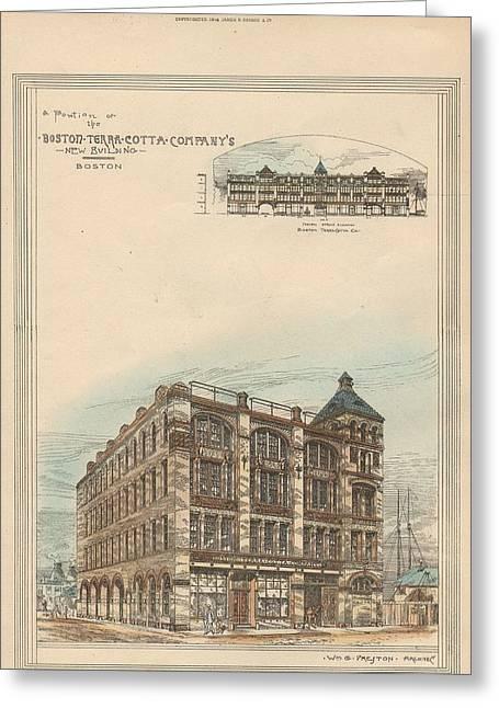 Terra Colors Greeting Cards - Boston Terra Cotta Building Boston MA 1883 Greeting Card by William Preston