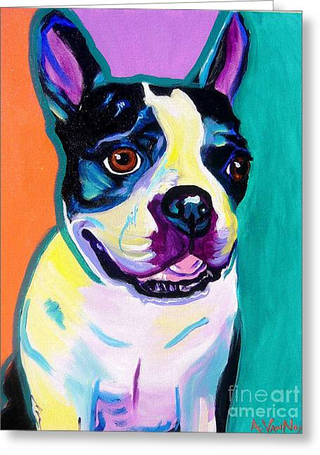 Alicia Vannoy Call Paintings Greeting Cards - Boston Terrier - Jack Boston Greeting Card by Alicia VanNoy Call