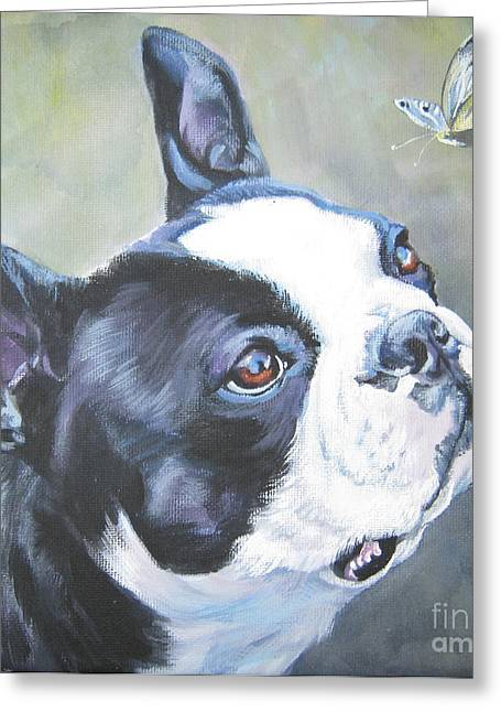 Boston Terrier Greeting Cards - boston Terrier butterfly Greeting Card by Lee Ann Shepard