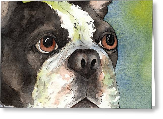 Boston Terrier Watercolor Greeting Cards - Boston Terrier close up Greeting Card by Cherilynn Wood