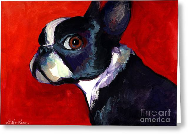 Boston Terrier Watercolor Greeting Cards - Boston Terrier dog portrait 2 Greeting Card by Svetlana Novikova