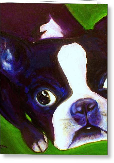 White Terrier Mixed Media Greeting Cards - Boston Terrier - Elwood Greeting Card by Laura  Grisham
