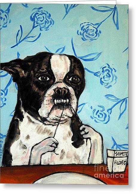 Boston Terrier Flossing Greeting Card by Jay  Schmetz