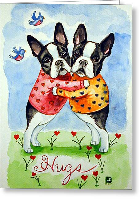 Boston Terrier Greeting Cards - Boston Terrier Hugs Greeting Card by Lyn Cook