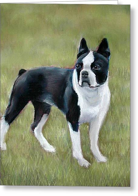 Boston Pastels Greeting Cards - Boston Terrier Greeting Card by Lenore Gaudet
