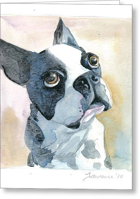 Boston Terrier Watercolor Greeting Cards - Boston Terrier Greeting Card by Mike Lawrence