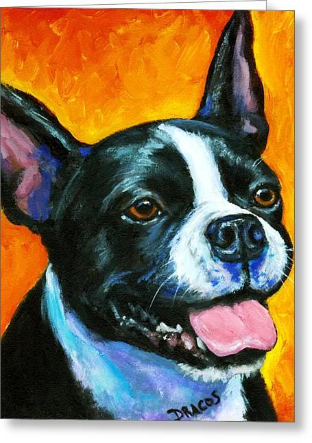 Boston Terrier On Orange Greeting Card by Dottie Dracos