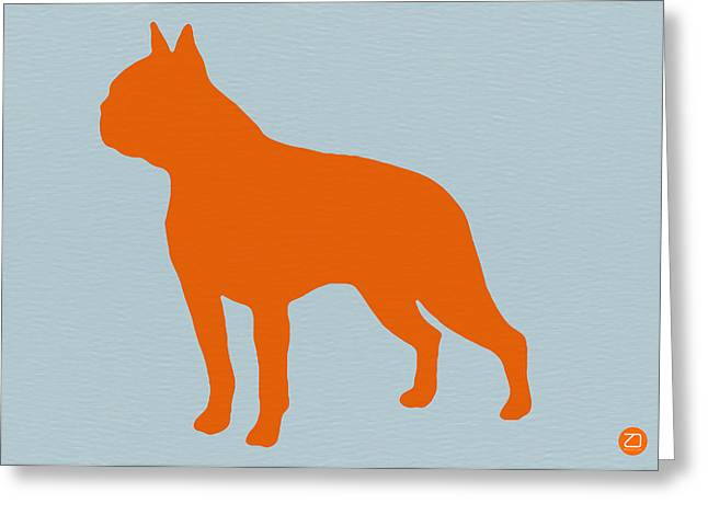 Funny Dog Digital Greeting Cards - Boston Terrier Orange Greeting Card by Naxart Studio