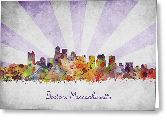 Abstract Digital Art Greeting Cards - Boston watercolor skyline Greeting Card by Mihaela Pater