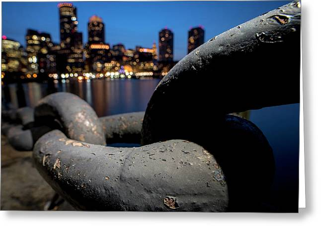 Boston Waterfront Chain Closeup Detail Boston Ma Greeting Card by Toby McGuire