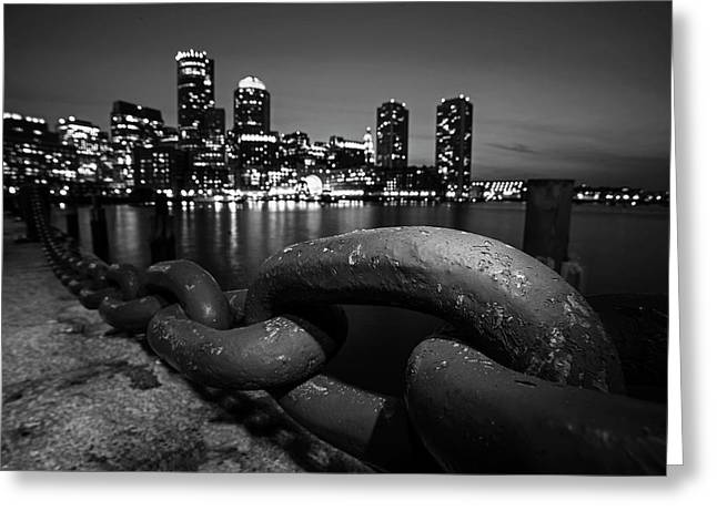 Boston Waterfront Chain Detail Boston Ma Black And White Greeting Card by Toby McGuire