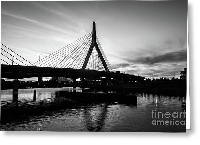 Boston Zakim Bridge Black And White Picture Greeting Card by Paul Velgos