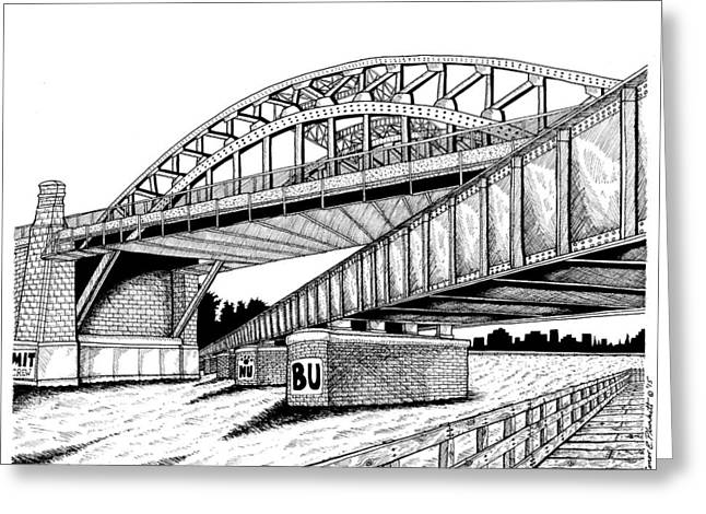Charles River Drawings Greeting Cards - Bostons B.U. Bridge Greeting Card by Conor Plunkett