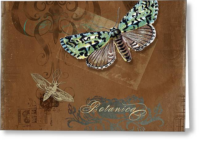Chic Mixed Media Greeting Cards - Botanica Vintage Butterflies n Moths Collage 1 Greeting Card by Audrey Jeanne Roberts