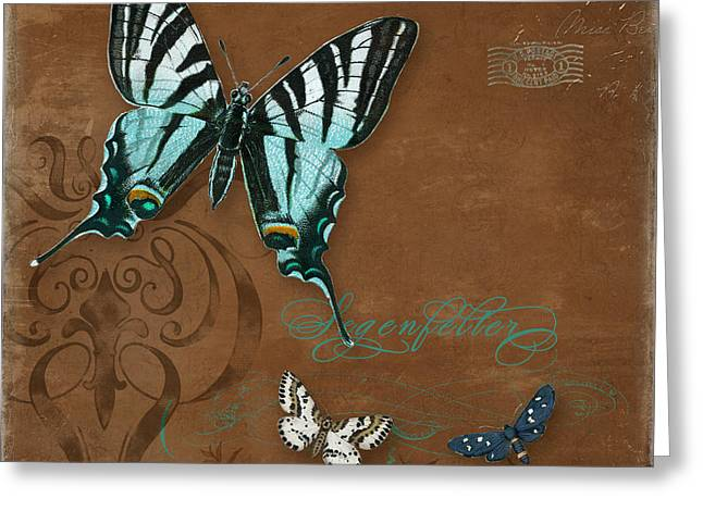 Chic Mixed Media Greeting Cards - Botanica Vintage Butterflies n Moths Collage 3 Greeting Card by Audrey Jeanne Roberts