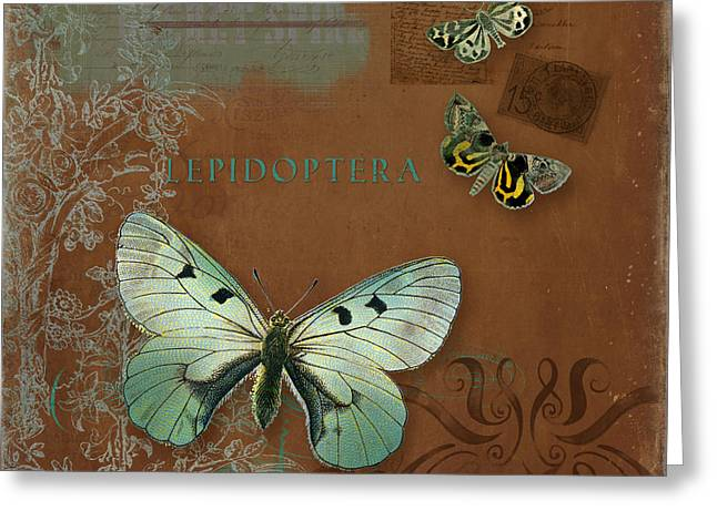 Chic Mixed Media Greeting Cards - Botanica Vintage Butterflies n Moths Collage 4 Greeting Card by Audrey Jeanne Roberts