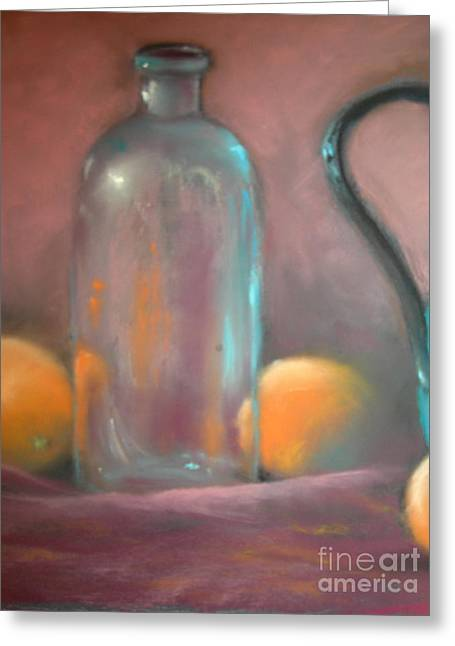Bottled Pastels Greeting Cards - Bottle and oranges Greeting Card by Joyce A Guariglia