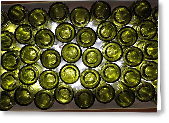 Hanging Wine Glasses Greeting Cards - Bottle Bottoms Greeting Card by Michael Riley
