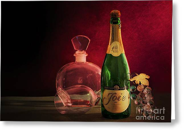 Red Wine Bottle Greeting Cards - Bottle Greeting Card by Charuhas Images