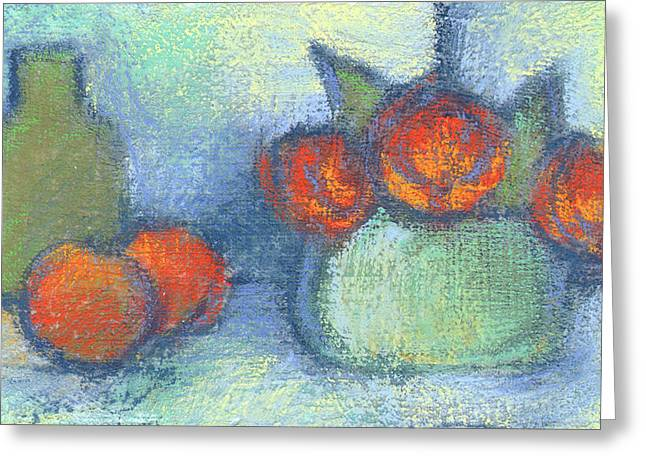 Textured Floral Pastels Greeting Cards - Bottle Fruit and Flowers Greeting Card by Janine Aykens