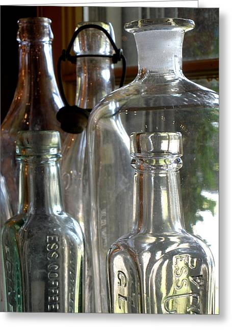 Glass Bottle Greeting Cards - Bottle Necks Greeting Card by Richard Mansfield