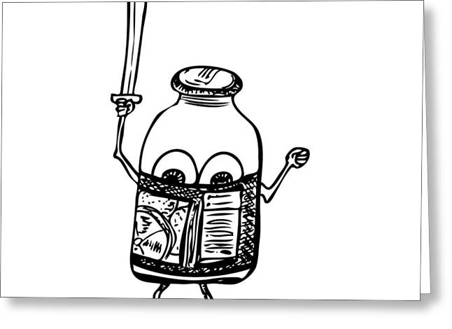 Label Drawings Greeting Cards - Bottle Ninja Greeting Card by Karl Addison