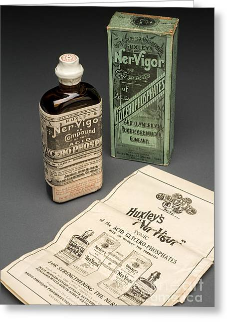 Bottle Of Huxleys Ner-vigor, 19th Greeting Card by Wellcome Images