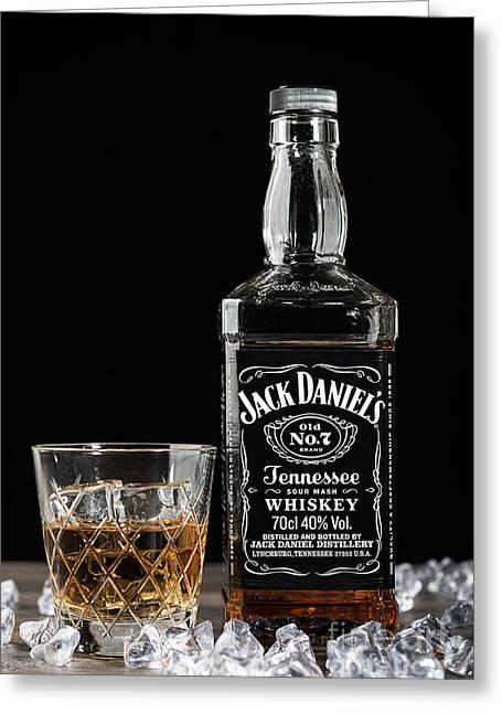Bottle Of Jack Daniel's Greeting Card by Amanda Elwell