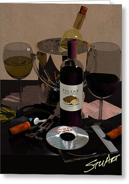 Resturant Art Greeting Cards - Bottle of Red...Bottle of White Greeting Card by Stuart Stone