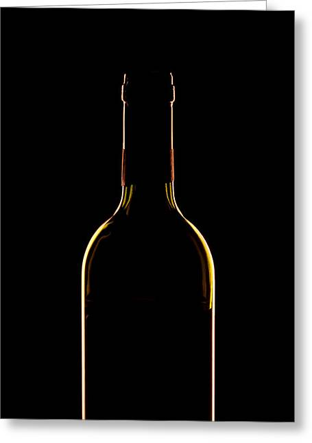 Back-light Greeting Cards - Bottle of Wine Greeting Card by Andrew Soundarajan