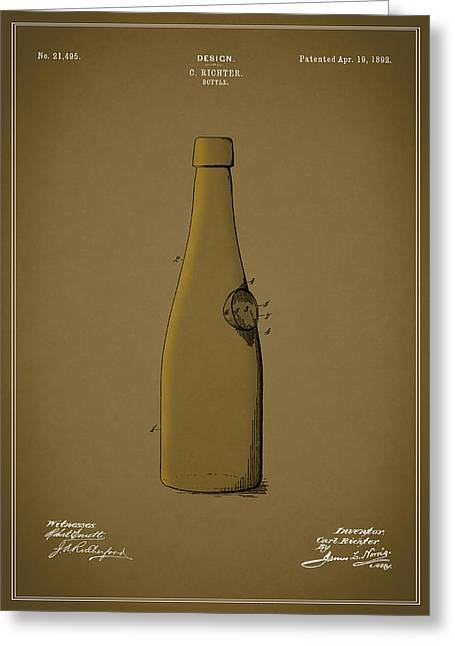 Food And Beverage Greeting Cards - Bottle Patent 1892 Greeting Card by Mark Rogan