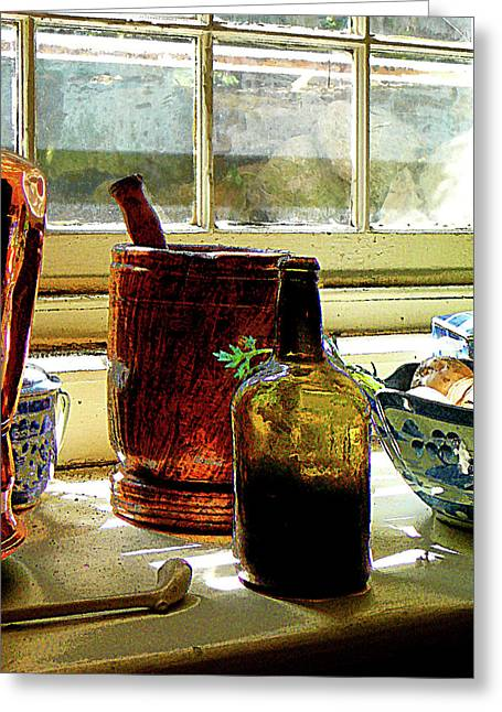 Cuisine Greeting Cards - Bottle with Mortar and Pestle Greeting Card by Susan Savad