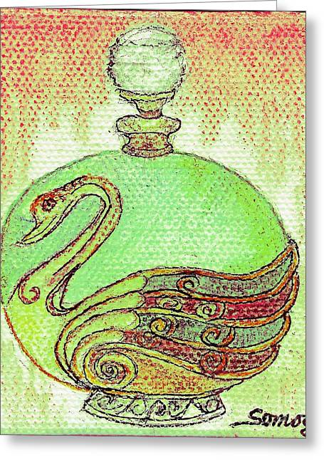 Bottled Kiwi Green Swan Greeting Card by Jayne Somogy