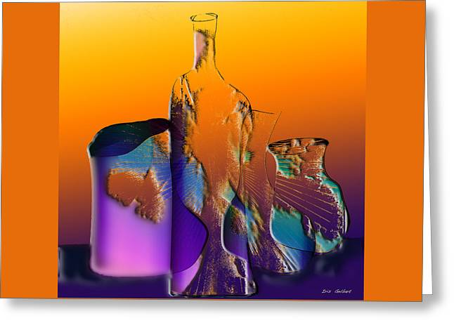 Purple Abstract Greeting Cards - Bottles 9 Greeting Card by Iris Gelbart