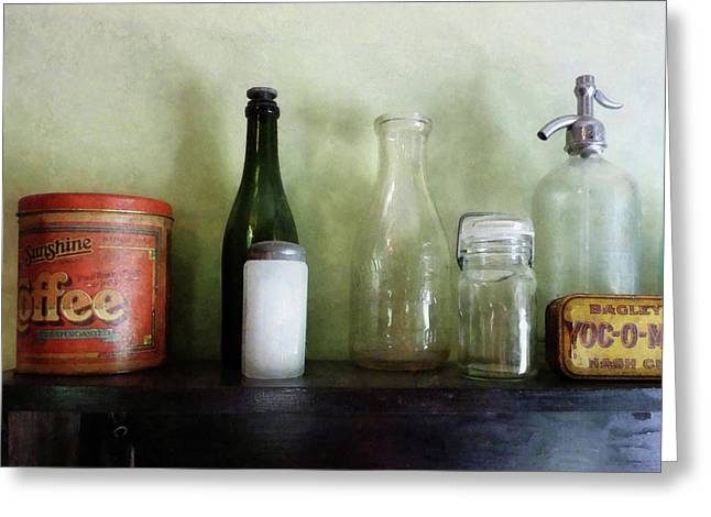 Bottles And A Coffee Can Greeting Card by Susan Savad