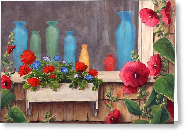 Flower Boxes Paintings Greeting Cards - Bottles and Flowers Greeting Card by Elaine Farmer